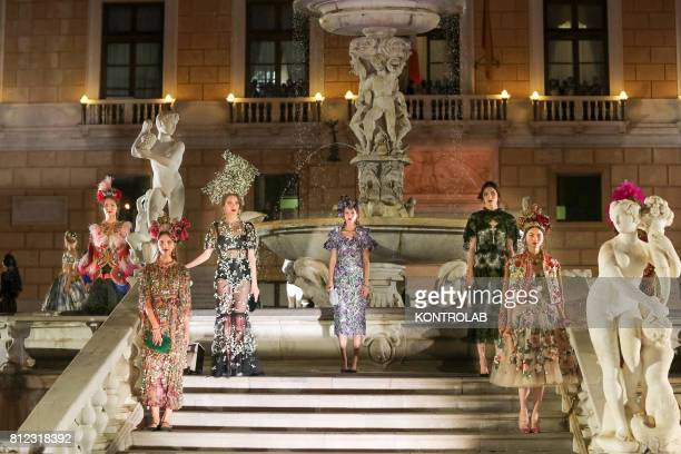 SQUARE PALERMO SICILY ITALY Some models during the parade of Dolce and Gabbana in Pretoria Square in Palermo Sicily southern Italy