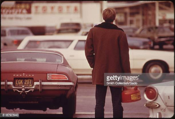 Some Motorists Ran Out of Gas Such as This Man in Portland and Had to Stand in Line with a Gas Can During the Fuel Crisis in the Pacific Northwest...