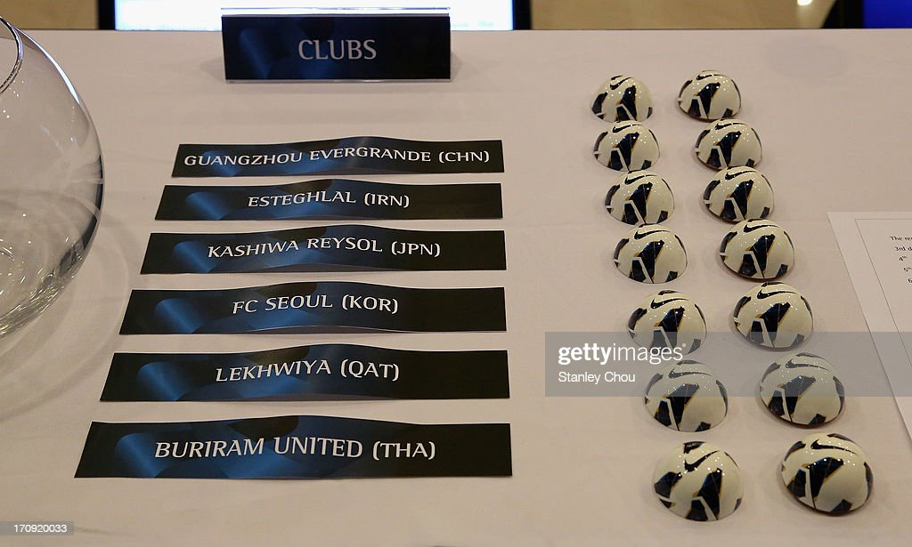 Some names of the AFC Champions League Clubs and draw balls are displayed during the Quarter Finals Knock-out Stage Draw of the 2013 AFC Champions League at the AFC House on June 20, 2013 in Kuala Lumpur, Malaysia.
