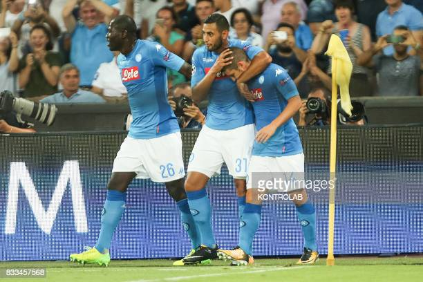 Some Napoli players celebrate the goal during the match between SSC Napoli and OGC Nice to qualify for the playoffs of the UEFA Champions League...