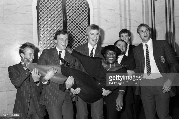 Some of Great Britain's Olympic gold medalist of the Los Angeles games at the Savoy Hotel for a private dinner in their honour given by two governors...