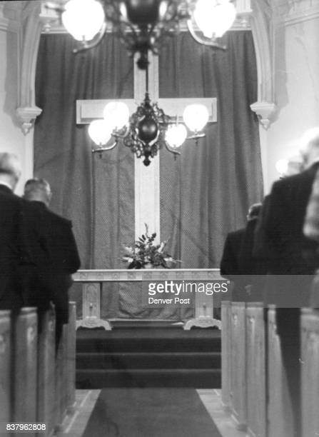 Some of persons attending services and entrance to Chapel DU Chaplain William Rhodes in pulpit during services Credit Denver Post