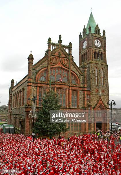 Some of the 13000 Santa's who gathered at the Guildhall in Derry City to break the world record for the amount of Father Christmas' in one place The...