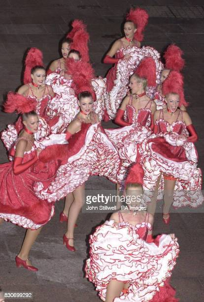 Some of the 14 CanCan dancers from the Paris club Moulin Rouge who performed for the Prince of Wales at the premiere of the film Moulin Rouge at the...