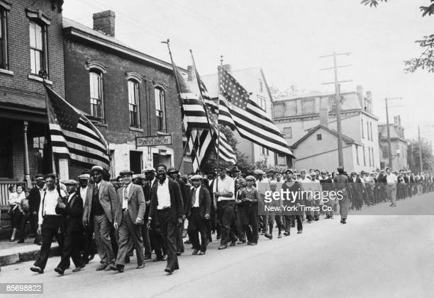 Some of the 15000 unemployed and hungerstriking miners who marched on the County Court House in Washington Pennsylvania to demand relief 1931