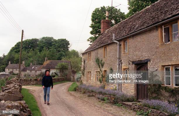 Some of the 33 cottages in the Cotswold village of Salperton near Cheltenham Gloucestershire which were put on the market with the rest of the...