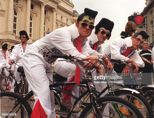 Some of the 50 Elvis impersonaters in London at the UK launch of Schwinn bicycles The impersonaters cycled round the centre of London before joining...