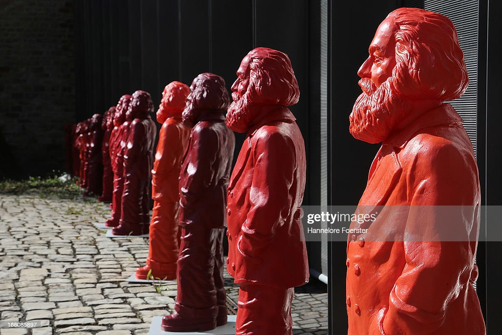 Some of the 500 one meter tall statues of German political thinker Karl Marx on display on May 5 2013 in Trier Germany The statues created by artist...