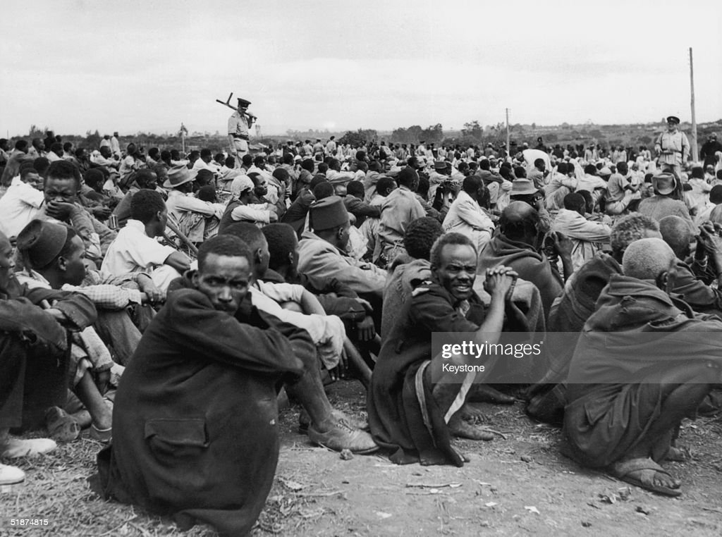 Some of the 6,000 Africans rounded up in Kairobangi, Nairobi, by police searching for Mau Mau suspects, 27th April 1953.