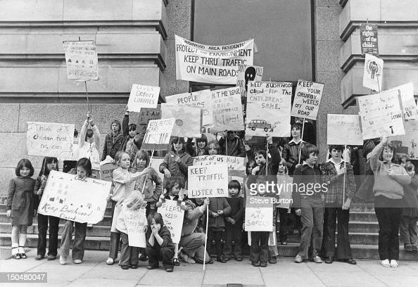 Some of the 70 children who marched on County Hall in London to protest the proposed reopening of Bushwood Road in Leytonstone 19th April 1979 The...