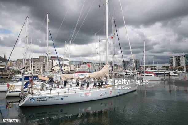 Some of the allfemale eXXpedition crew get ready on board the yacht Sea Dragon as they prepare to sail around Britain to highlight plastic in the...