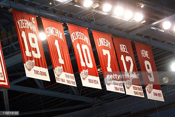 Some of the banners that hang from the rafters in Joe Louis arena before an NHL game between the Detroit Red Wings and the Edmonton Oilers on March...