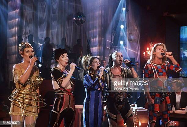Some of the cast members from the third version of the rock opera Starmania perform during the French entertainment TV show La Fureur hosted by...