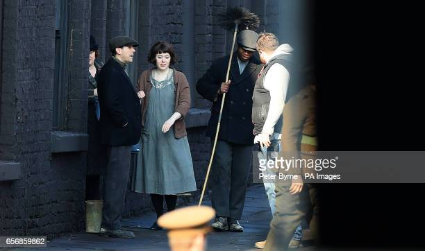 Some of the cast on the set of Peaky Blinders as it shoots its fourth series in Liverpool