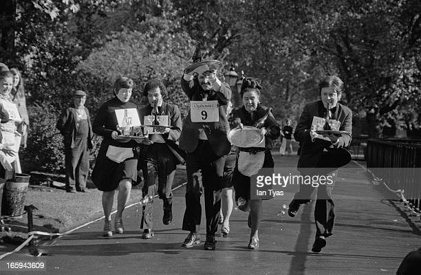 Some of the competitors in the National Wine Waiters' Race at Lincoln's Inn Fields London 8th October 1974