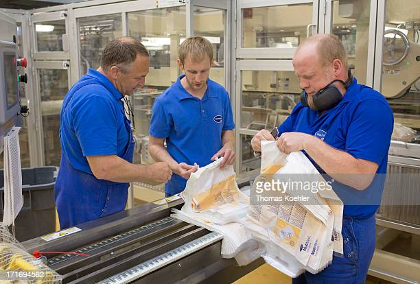 Some of the employees at the Hartmann AG company where adult diapers and pads among other incontinence products are manufactured pictured on May 22...