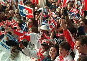 Some of the estimated 150000 Canadians demonstrate 27 October in Montreal to persuade Quebeckers to vote against seceding from Canada in the 30...