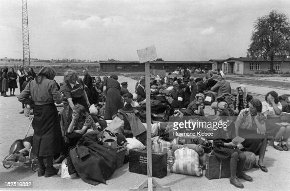 Some of the estimated two and a quarter million Germans who are being expelled from Czechoslovakian territory after the collapse of German power in...