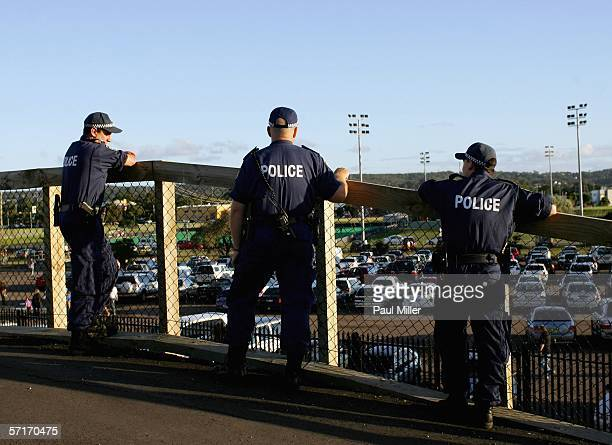Some of the extra 150 Police officers on patrol keep a look out at the round three NRL match between the Knights and the Bulldogs at Energy Australia...