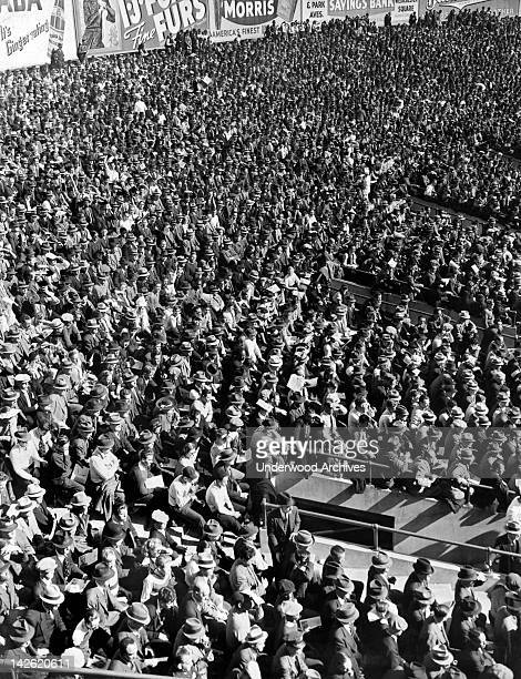 Some of the fans at Yankee Stadium in New York watching a baseball game New York New York 1930s