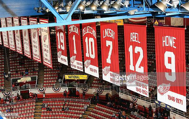 Some of the historic banners that hang in the rafters at Joe Louis arena before the NHL game between the St Louis Blues and the Detroit Red Wings on...