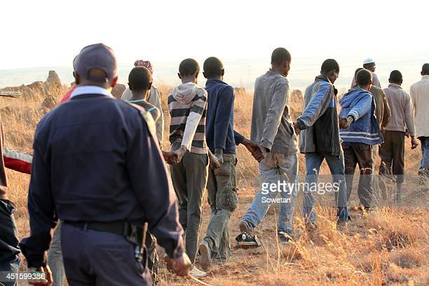 Some of the initiates rescued from five illegal schools in Poortjie near Lenasia on July 1 2014 in Johannesburg South Africa The initiates could not...