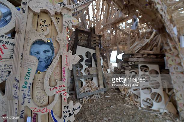 Some of the inscriptions left in the Temple shortly before thousands of people gathered to watch the Temple set ablaze on March 21 2015 in...