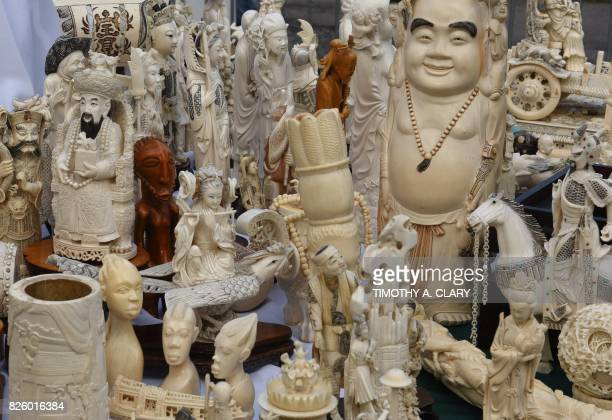 Some of the ivory is viewed on display during #IvoryCrush in Central Park in New York on August 3 where New York State Department of Environmental...