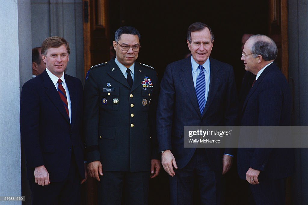 Some of the members of the United States National Security Council leave the Pentagon including Vice President Dan Quayle President George Bush Colin...