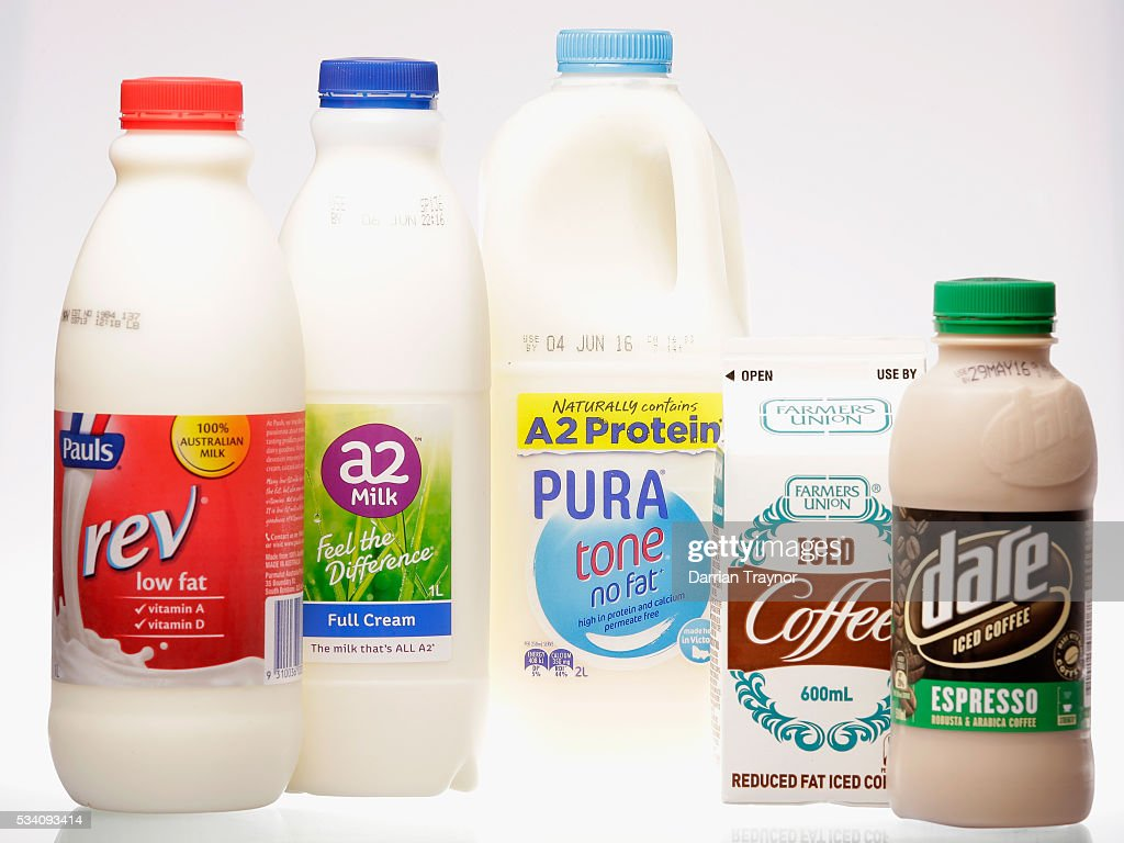 Some of the milk products that support Austrailian Dairy Farmers on May 25, 2016 in Melbourne, Australia. Supermarket shelves are low on branded milk stock as consumers purchase more expensive brands in support of local farmers