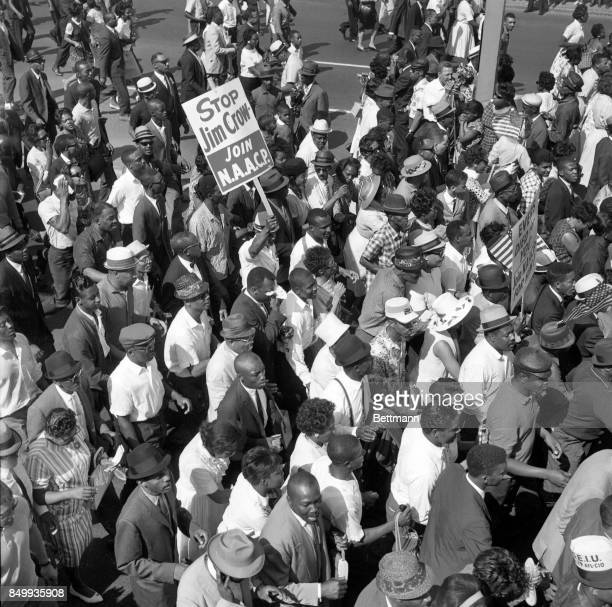 Aerial shot of some of the more than 100000 people demonstrating in protest of racial discrimination jam Woodward Avenue from curb to curb in a huge...