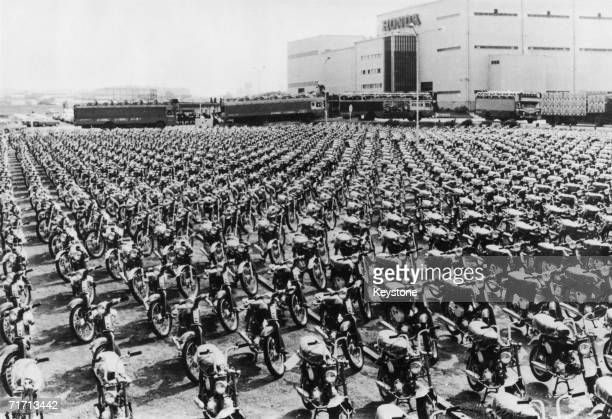 Some of the motorcycles produced by the Honda company waiting to be exported outside the firm's factory in Suzuka Japan November 1970