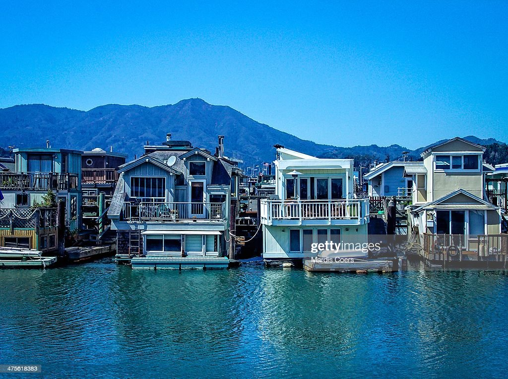 Some of the over 400 houseboats located in the Sausalito Marina, California.