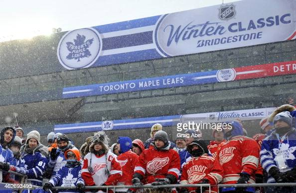 Some of the record 105000 fans take in the action between the Toronto Maple Leafs and the Detroit Red Wings during NHL game action during the 2014...