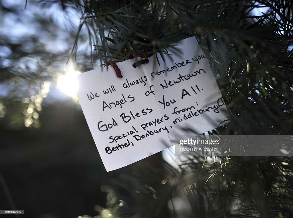Some of the remaining memorial items to Sandy Hook Elementry students and staff who died are viewed in Newtown, Connecticut on January 3, 2013. Students at the elementary school where a gunman massacred 26 children and teachers last month were returning Thursday to classes at an alternative campus described by police as 'the safest school in America.' Survivors were finally to start their new academic year in the nearby town of Monroe, where a disused middle school has been converted and renamed from its original Chalk Hill to Sandy Hook.