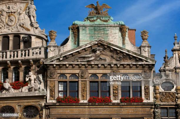 Some of the roofs of Louve Sac and Brouette at Grand Place Brussels Belgium The Louve Sac and Brouette are a group of houses that were not rebuilt in...