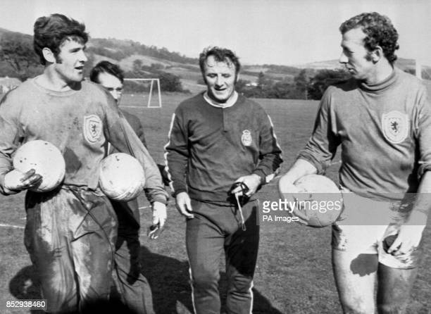 Some of the Scottish football team seen after the team's training session for the game against Portugal at Hampden Park Seen on the field at Largs...