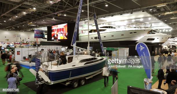 Some of the stands at the Tullett Prebon London Boat Show at the ExCel centre in Docklands east London