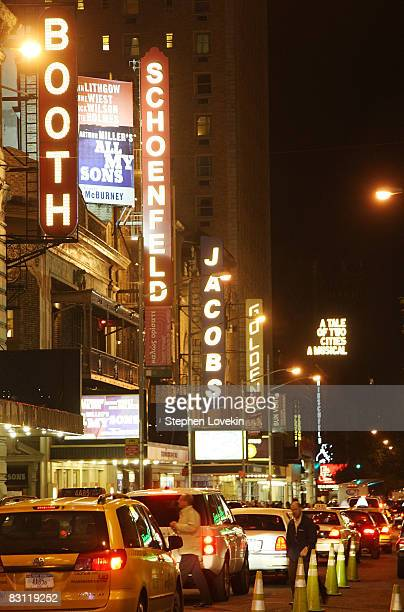 Some of the theatres lights are lit up on west 44th street between Broadway and Eighth avenue prior to the dimming of their marquee lights in honor...