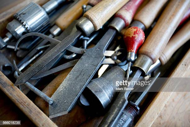 Some of the tools found in the City Of San Francisco Central shop where carpenters still construct hand–made wood fire ladders January 18 2012 San...