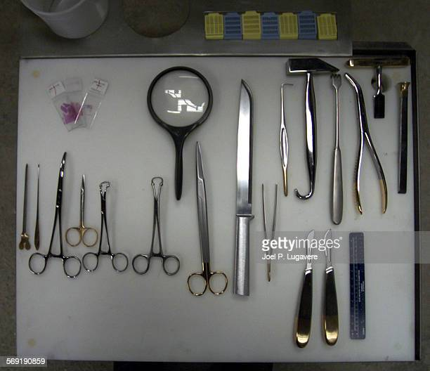 Some of the tools of the trade that Vidal Herrera an autopsy technician who owns Autopsy/Post Services has run into several obstacles since buying a...
