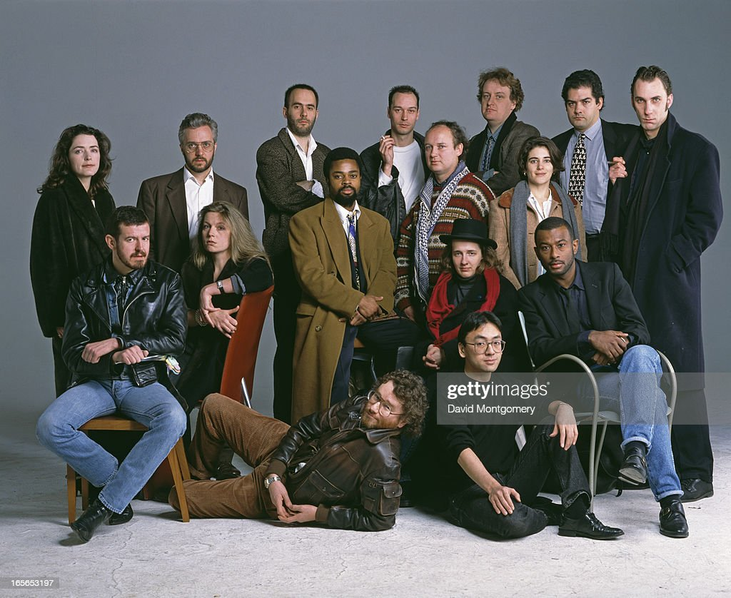 Some of the twenty 'Best of Young British Novelists', listed by the Granta literary magazine and publisher for 1993. Back row, left to right: Helen Simpson, Alan Hollinghurst, Tibor Fischer, Lawrence Norfolk, Adam Lively, Philip Kerr and Will Self. Second row, left to right: Adam Mars-Jones, Candia McWilliam, Ben Okri, Louis de Bernieres and Esther Freud. Third row (seated, right): A. L. Kennedy and Caryl Phillips. Sitting on floor: Iain Banks (left) and Kazuo Ishiguro.