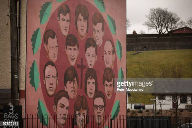 Some of the victims of the Bloody Sunday shootings are remembered on a mural in the Catholic Bogside area of Derry on March 15 2010 in Northern...