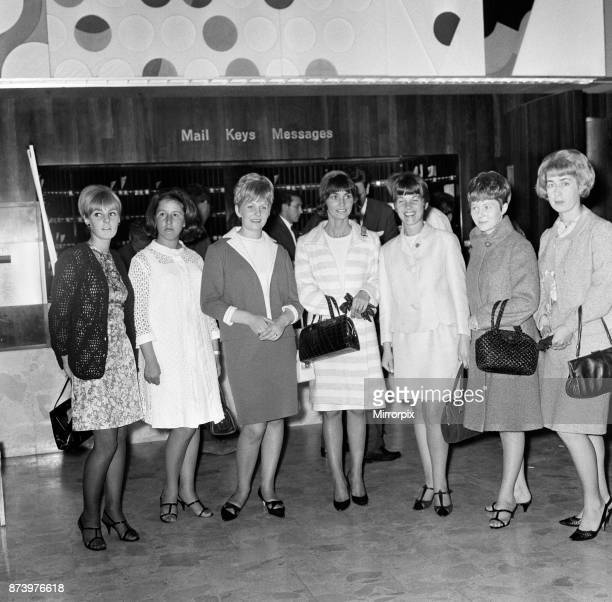 Some of the wives and girlfriends of the victorious England World Cup team on their way to a London theatre the night before the 1966 World Cup Final...