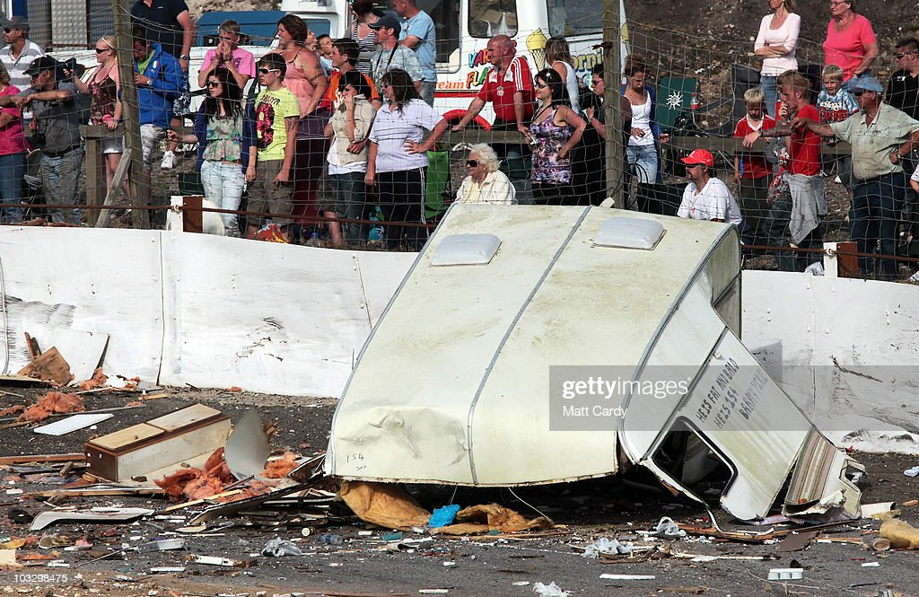 Some of the wreckage of old caravans destroyed in the annual Cornish Caravan Chaos is left on the racetrack at United Downs Raceway on August 8 2010...