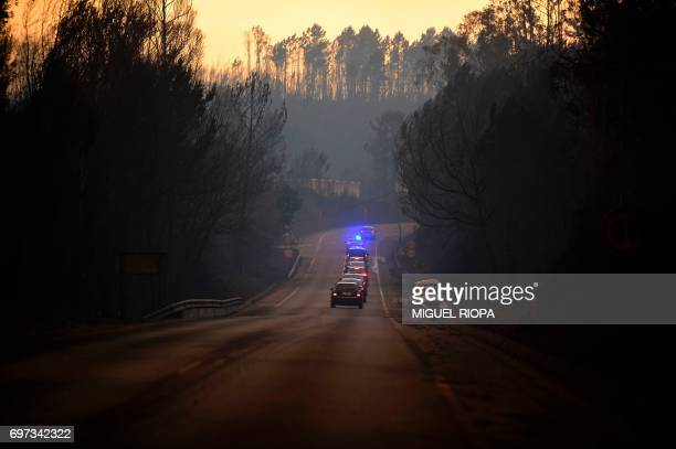 TOPSHOT Some official cars drive on a road in an area devastated by a wildfire near the village of Barraca da Boavista on May 18 2017 Portugal...