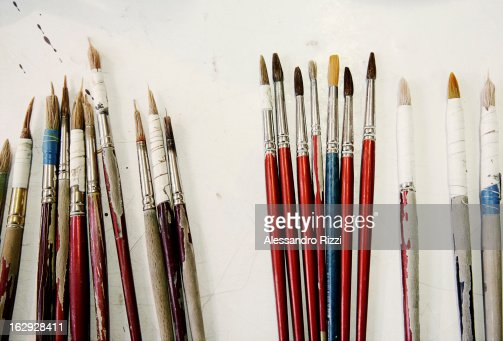 Some paint-brushes on the table
