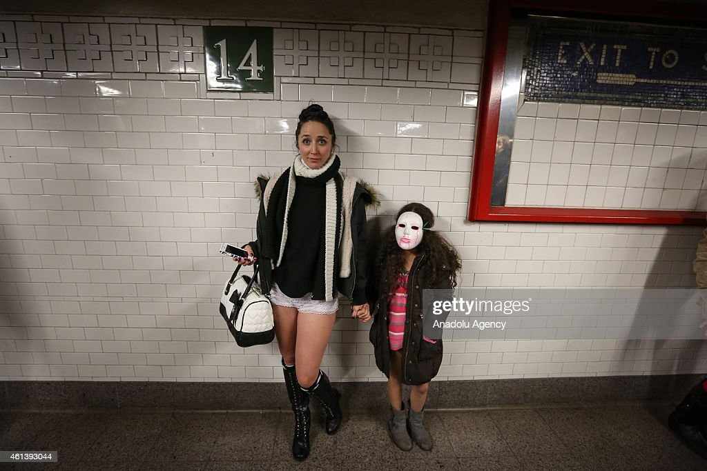 Some participants in their underwear take part in the No Pants Subway Ride in New York subway on January 11 2015 in New York The 'No Pants Subway...