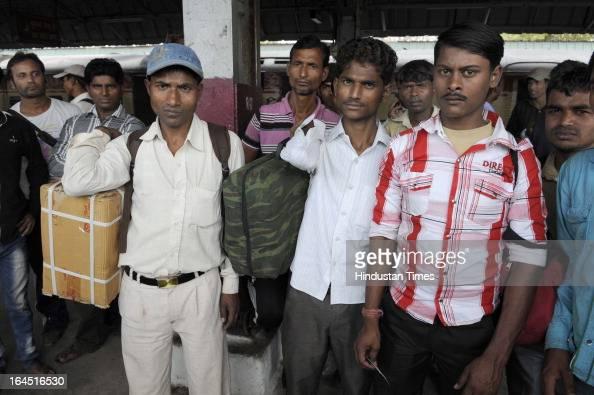 Some passengers miss their Bihar Sampark Kranti Train as heavy rush due to Holi festival at New Delhi Railway Station on March 24 2013 in New Delhi...