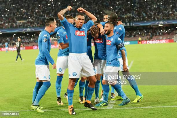 Some players of Napoli exult for the goal during the match between SSC Napoli and OGC Nice to qualify for the playoffs of the UEFA Champions League...